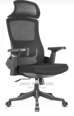 Black Mesh Office Swivel Chair With Headrest | Furniture for sale in Lagos State, Ilashe
