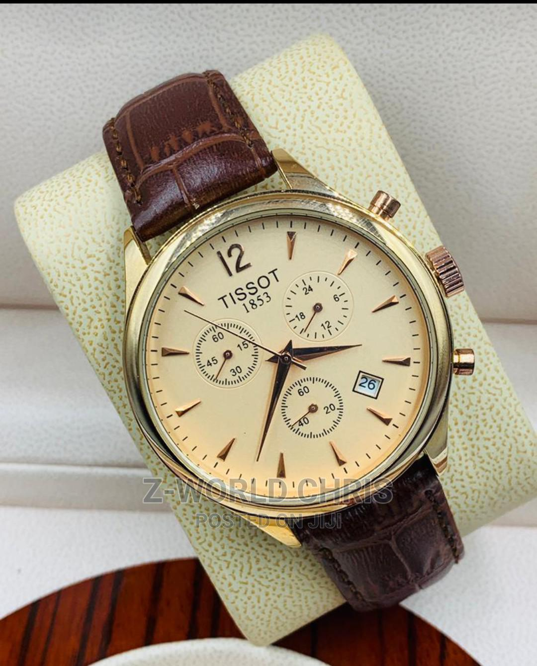 Tissot Men's Brown Leather Wristwatch   Watches for sale in Surulere, Lagos State, Nigeria