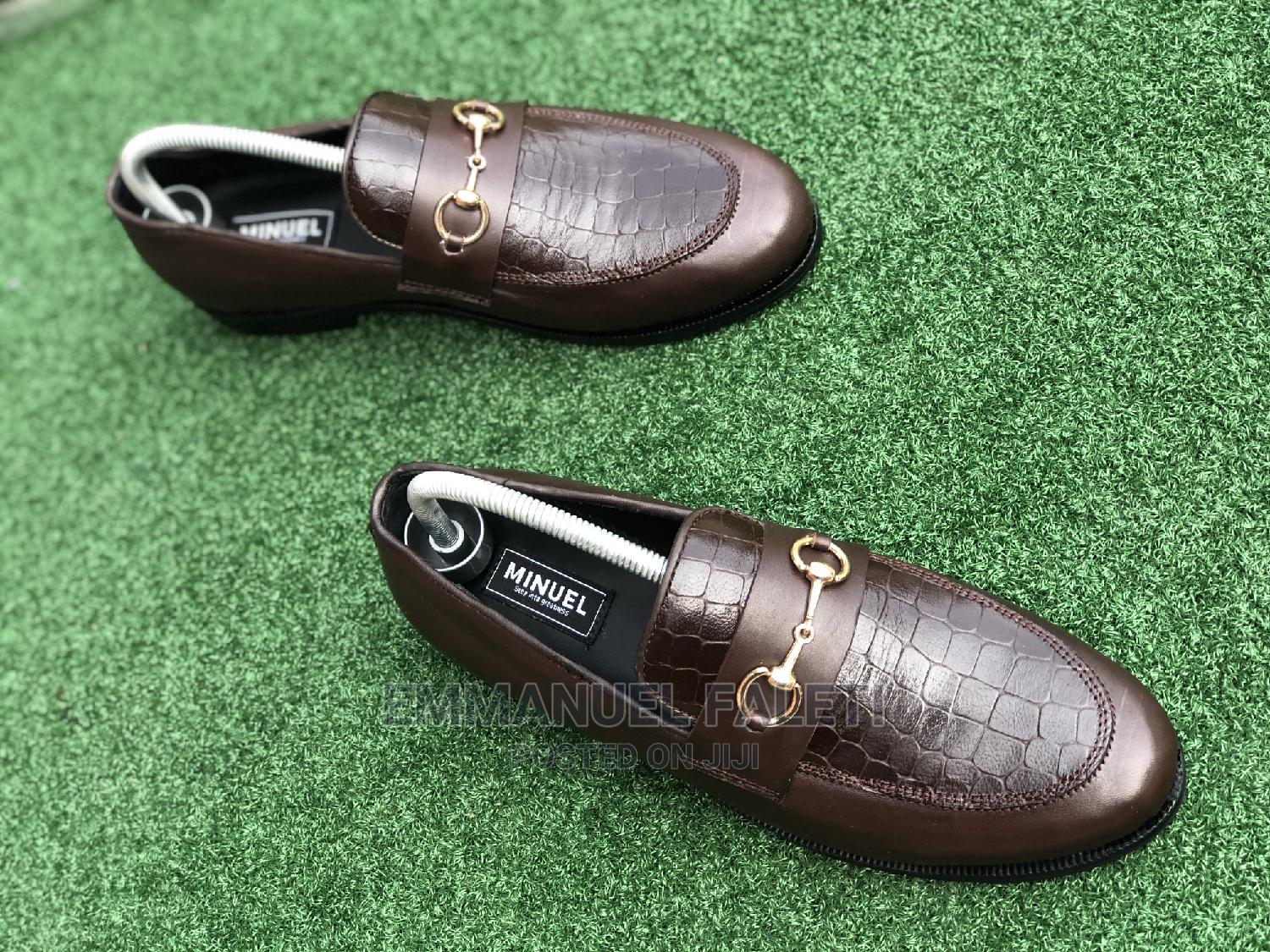 . Coffee Brown Loafers With Chain