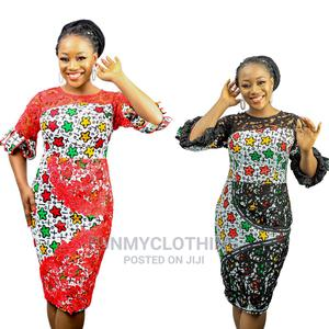 Bella Ankara and Lace Short Dress   Clothing for sale in Lagos State, Ikoyi