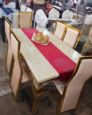 Gold Marble Top Dining Table Set | Furniture for sale in Lagos State, Ikoyi
