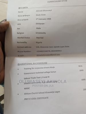 Driver CV   Driver CVs for sale in Lagos State, Gbagada