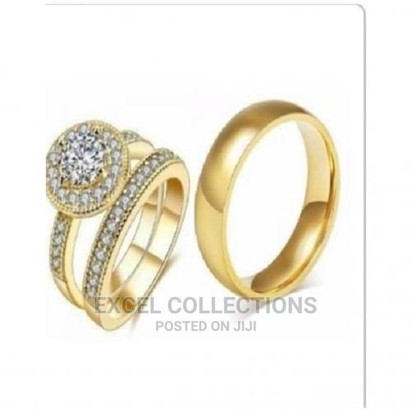 Archive: Italian Gold Riggan 18k Wedding Ring Set(3 Pieces)