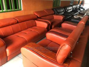 High Quality Italian Leather Sofa 7 Seaters Orange Colour   Furniture for sale in Lagos State, Ojo