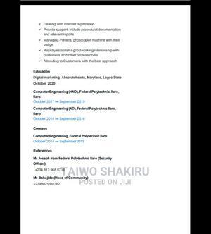 Computing IT CV | Computing & IT CVs for sale in Lagos State, Lekki