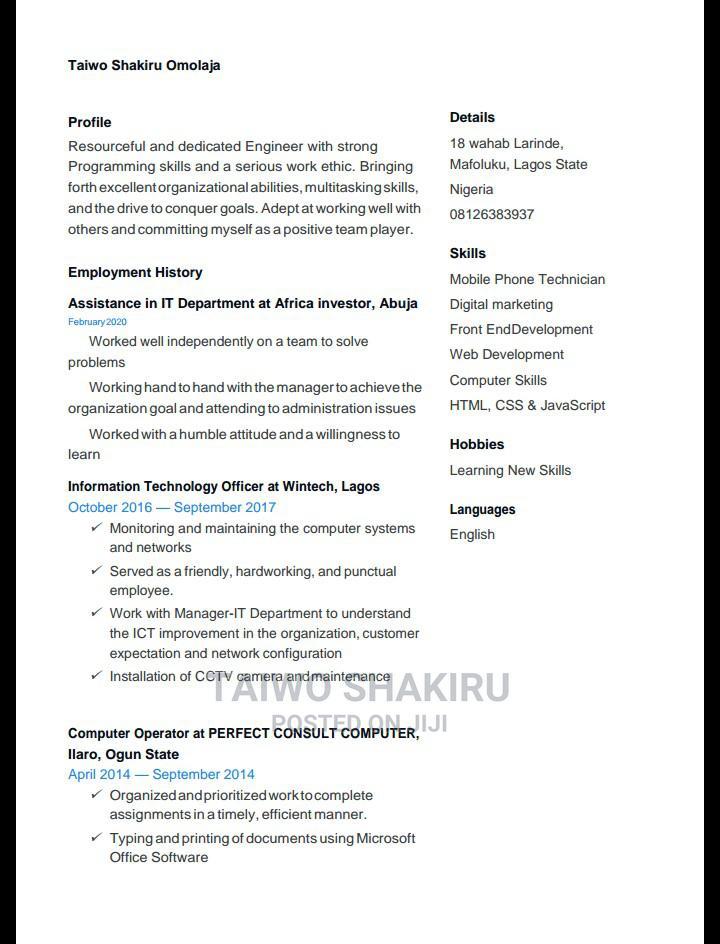 Computing IT CV | Computing & IT CVs for sale in Lekki, Lagos State, Nigeria