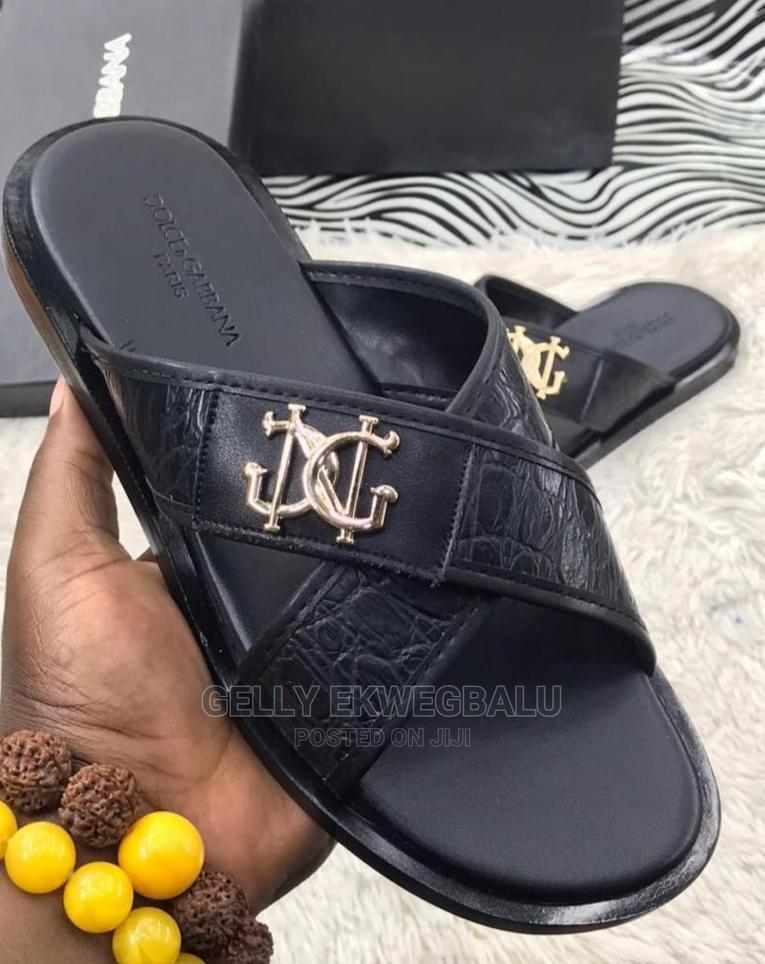 Dolce and Gabbana Designer Leather Slippers/ Palm