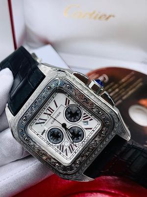 High Quality Cartier Black Leather Watch for Men   Watches for sale in Lagos State, Magodo