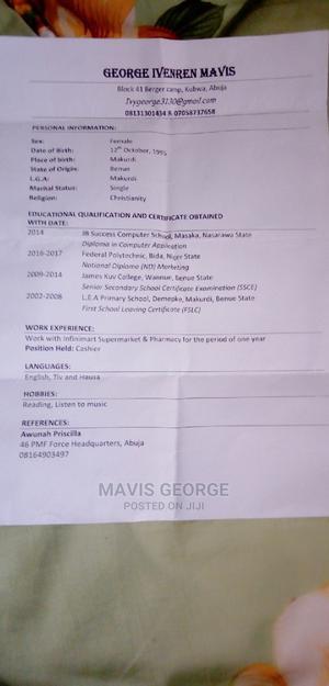 Sale Representative   Retail CVs for sale in Abuja (FCT) State, Kubwa