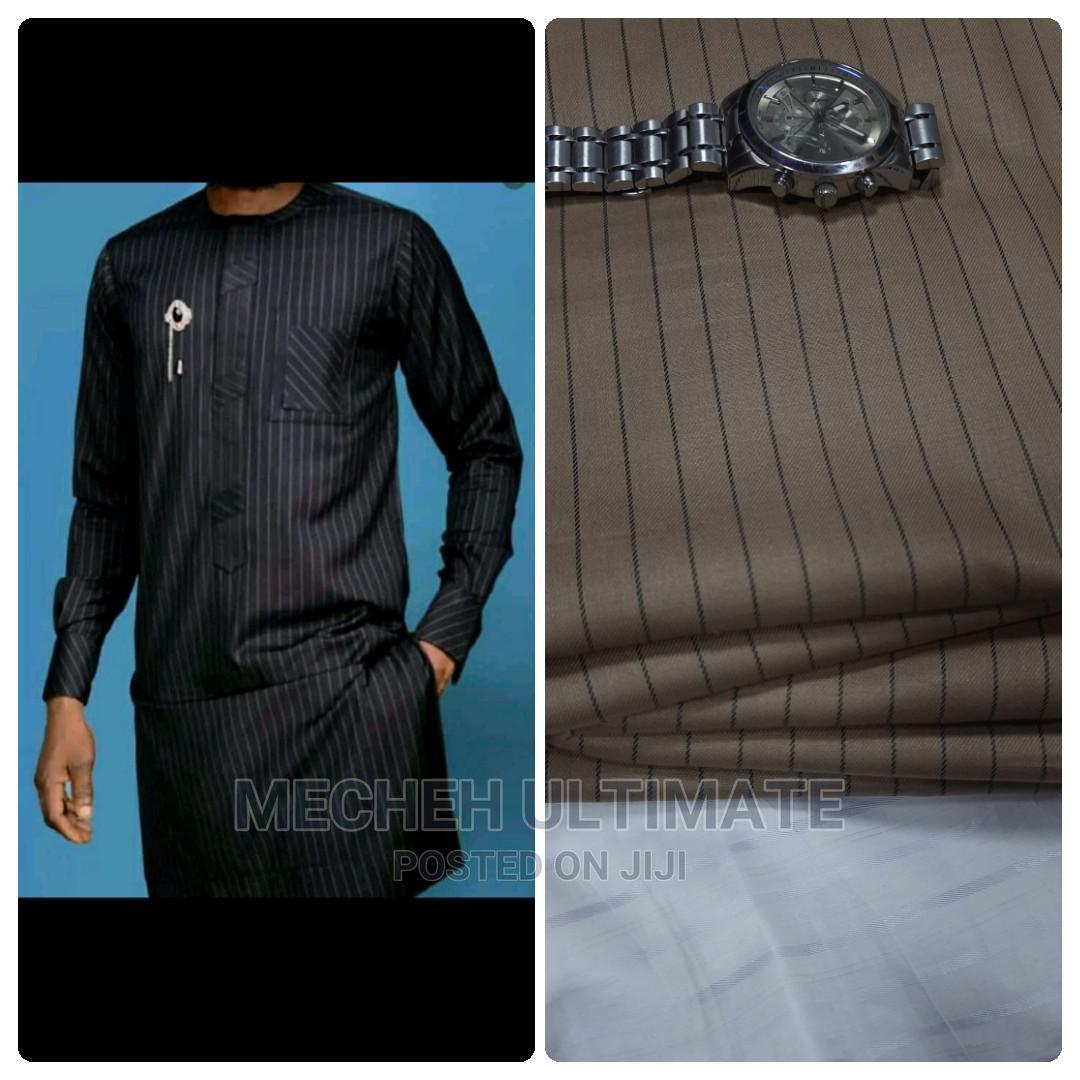 1 Yard Senator Material,Catorn Brown Stripe | Clothing for sale in Lagos Island (Eko), Lagos State, Nigeria