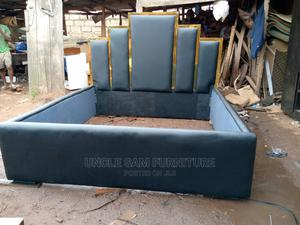 Queen Bed 6ft by 6ft, Clothe Leather Cover | Furniture for sale in Edo State, Benin City