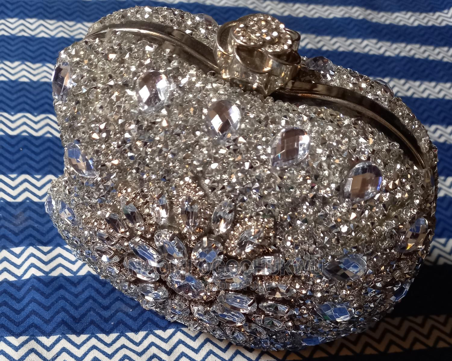 Silver Stoned Clutch Bag