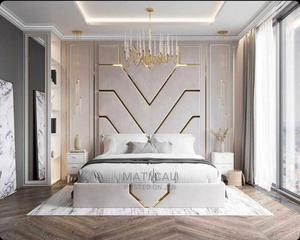 Classic Bed With Gold Pattern   Furniture for sale in Lagos State, Ikoyi