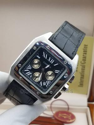 Cartier Chronograph Silver Leather Strap Watch | Watches for sale in Lagos State, Lagos Island (Eko)