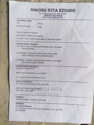 Healthcare Nursing CV | Healthcare & Nursing CVs for sale in Rivers State, Obio-Akpor