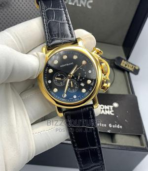 High Quality MONTBLANC Black Leather Watch for Men   Watches for sale in Lagos State, Magodo