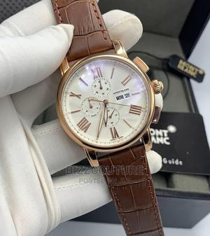High Quality MONTBLANC Brown Black Leather Watch for Men   Watches for sale in Lagos State, Magodo
