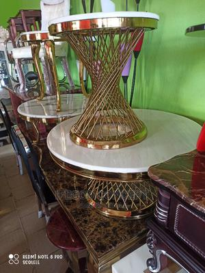 Round Marble Center Table With Side Stool | Furniture for sale in Lagos State, Ojo