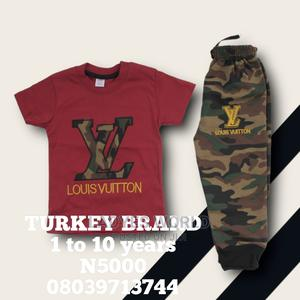 Kids Wine Colours Top With Camouflage Joggers Trouser | Children's Clothing for sale in Lagos State, Lekki