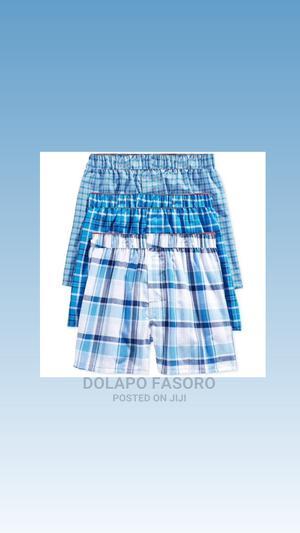Hanes Big Boys' Platinum Blue Plaid Boxer Underwear   Children's Clothing for sale in Lagos State, Ikeja