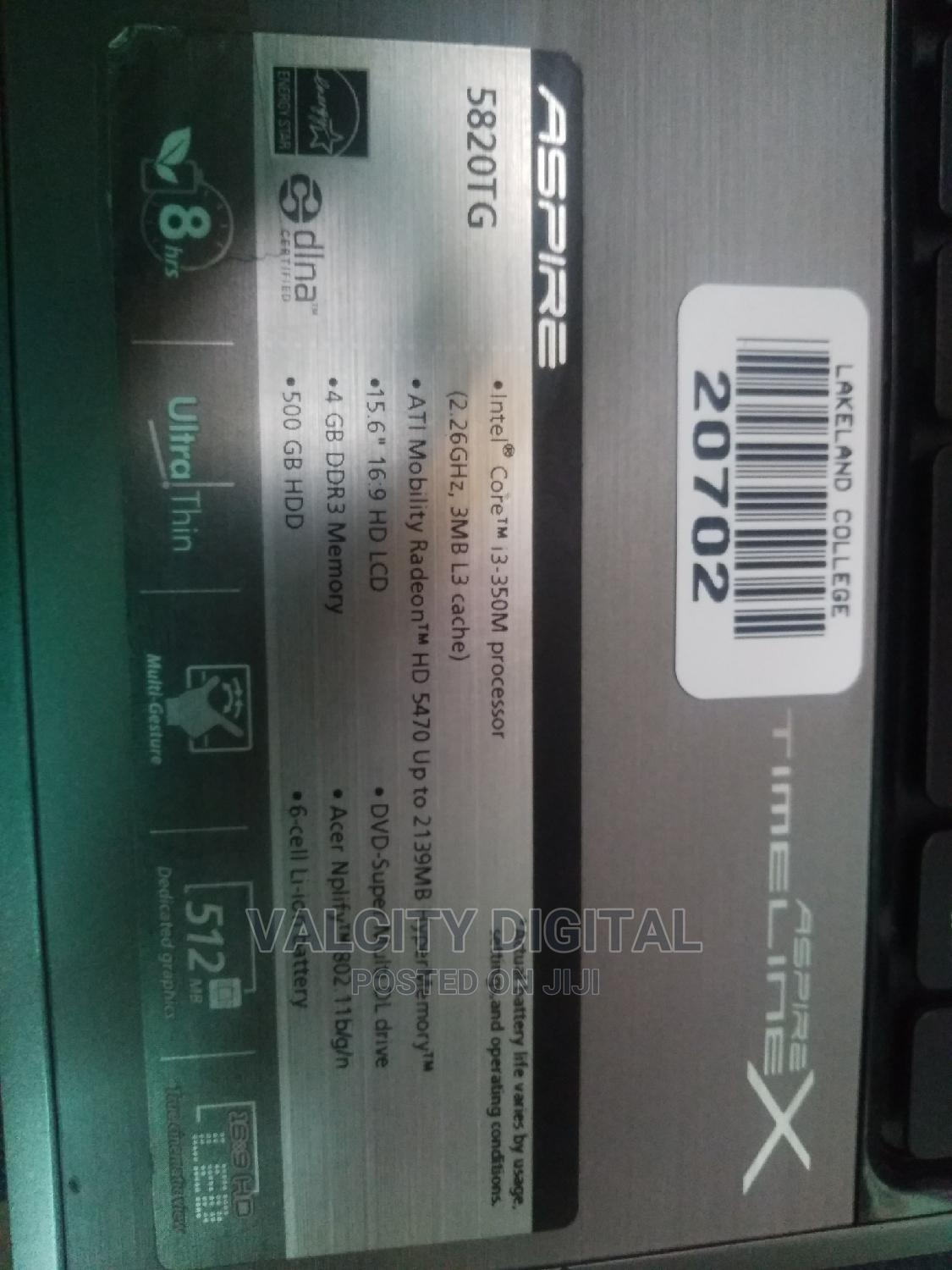 Laptop Acer Aspire 5820TG 4GB Intel Core I3 HDD 320GB | Laptops & Computers for sale in Ikeja, Lagos State, Nigeria