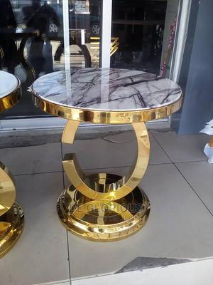 Golden Side Stool Marble Top | Furniture for sale in Abuja (FCT) State, Wuse 2