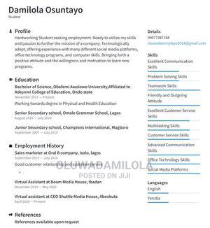 Virtual Assistant Cv | Customer Service CVs for sale in Ogun State, Obafemi-Owode