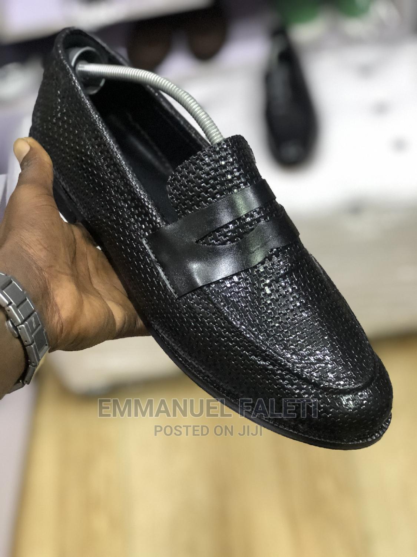Black Basket Leather Penny Loafers