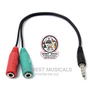 3.5mm Stereo Headset & Mic Audio Y Splitter Cable 4recording | Accessories & Supplies for Electronics for sale in Lagos State, Mushin