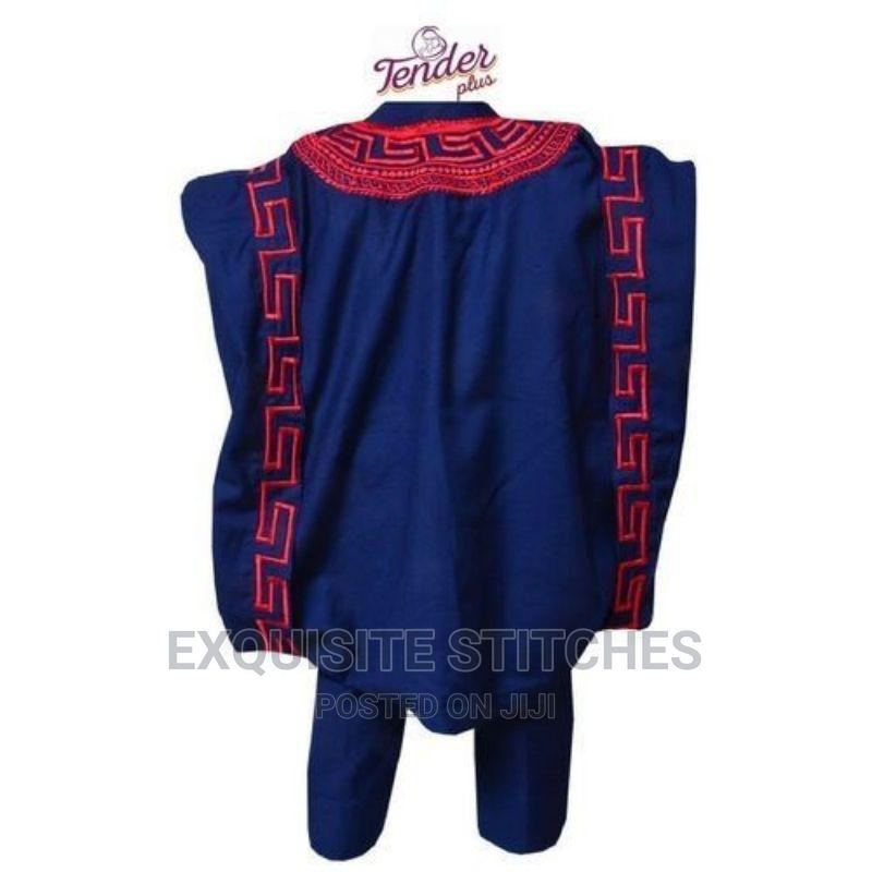 3pcs Navy Blue Boys Agbada Native With Red Embroidery | Children's Clothing for sale in Ojodu, Lagos State, Nigeria
