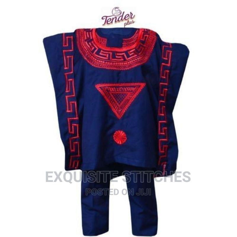 3pcs Navy Blue Boys Agbada Native With Red Embroidery