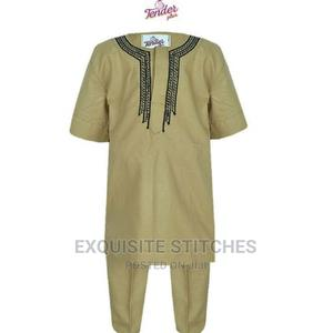 3pcs Boys Agbada + Cap With Black and Gold Embroidery | Children's Clothing for sale in Lagos State, Ojodu