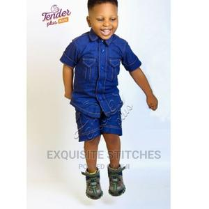Boys Denim Shirt and Short Combo-Blue | Children's Clothing for sale in Lagos State, Ojodu