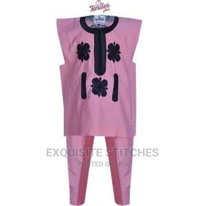 Baby Pink Danshiki Native With Black Embroidery   Children's Clothing for sale in Lagos State, Ojodu