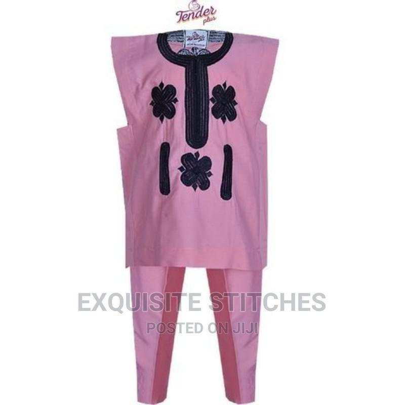 Baby Pink Danshiki Native With Black Embroidery