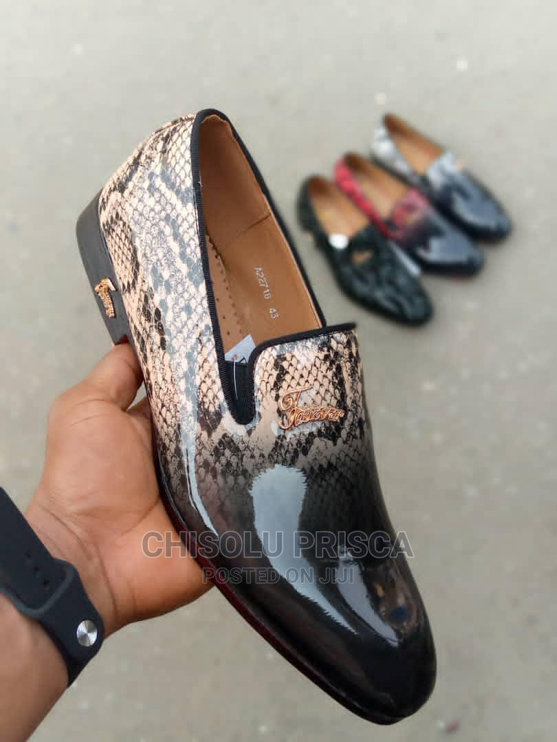Archive: FOLLETEL Stripped Black and Brown Italian Loafers Men