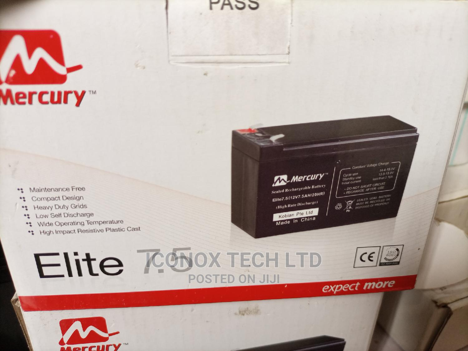 Mercury UPS Replacement Battery 7.5ah 12V | Computer Hardware for sale in Ikeja, Lagos State, Nigeria