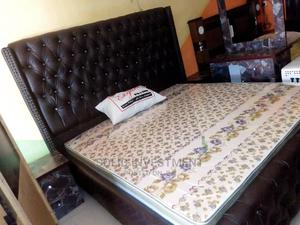 6/6 Padded Upholstery Bed Frame, With Double Side Drawers, | Furniture for sale in Lagos State, Ajah
