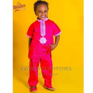 Kids Wear-Girls Trad Wear Fuchsia Pink +Baby Pink Embroidery | Children's Clothing for sale in Lagos State, Ojodu