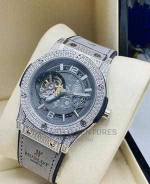 Hublot Full Ice Automatic Silver Leather Strap Watch   Watches for sale in Lagos State, Lagos Island (Eko)