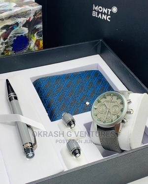 Montblanc Chronograph Silver Leather With Pen Cufflinks | Watches for sale in Lagos State, Lagos Island (Eko)
