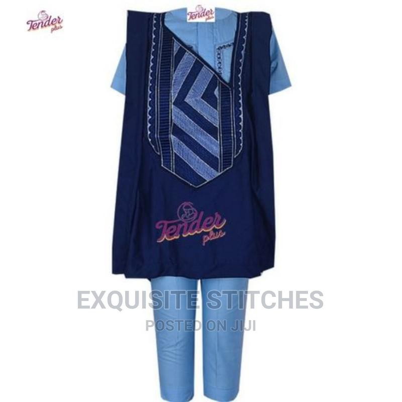 3pcs Agbada -Navy Blue/Sky Blue Combo and Embroidery