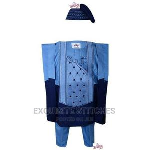 3pcs Boys Agbada + Cap in Navy /Sky Blue Combo | Children's Clothing for sale in Lagos State, Ojodu