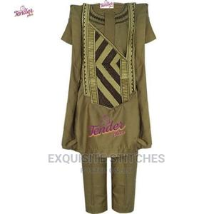 Kids Agbada Native-Carton Brown With Gold and Chocolate Brow | Children's Clothing for sale in Lagos State, Ojodu