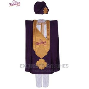 4pcs Purple Aso-Oke Agbada + Abeti Aja Cap With White Inner | Children's Clothing for sale in Lagos State, Ojodu