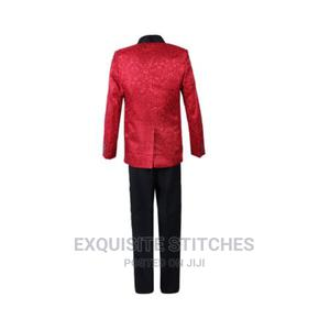 Boys 3pcs Tuxedo Suit- Red Paisley and Black | Children's Clothing for sale in Lagos State, Ojodu
