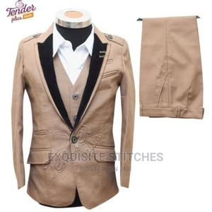 Boys 3 Pcs Carton Brown Tuxedo Suit With White Shirt | Children's Clothing for sale in Lagos State, Ojodu
