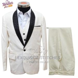 Boys 3 Pcs Cream Tuxedo Suit With White Shirt | Children's Clothing for sale in Lagos State, Ojodu