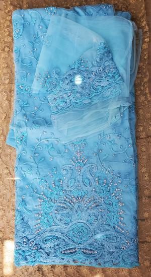 Turquoise Blue Net Indian George With Matching Blouse | Clothing for sale in Abuja (FCT) State, Kubwa