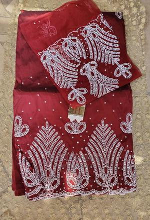 Wine Red Indian George With White Embellishment and Blouse | Clothing for sale in Abuja (FCT) State, Kubwa